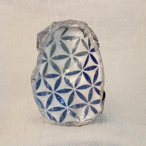 Geometric Blue Oyster Shell Trinket Dish