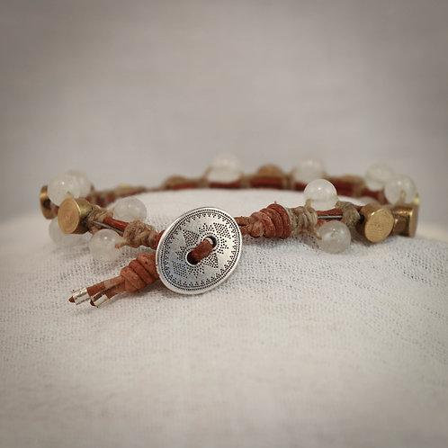 Rock Crystal and Brass Men's Leather Braided Bracelet