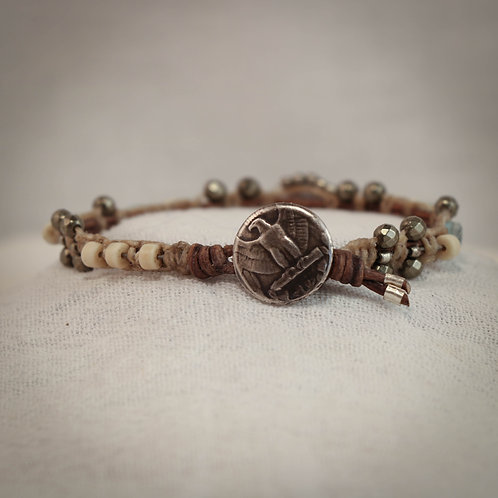 Calcedoney Nugget - Pyrite - Jade and Silver Men's Leather Braided Bracelet