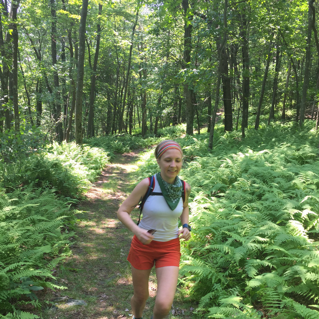 Running in the woods in New Jersey.