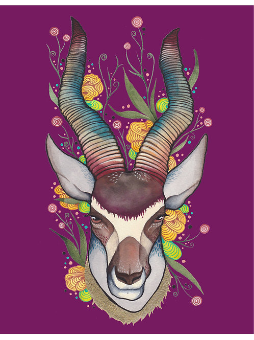 8x10 Art Print: Fiesta Antelope (Purple)