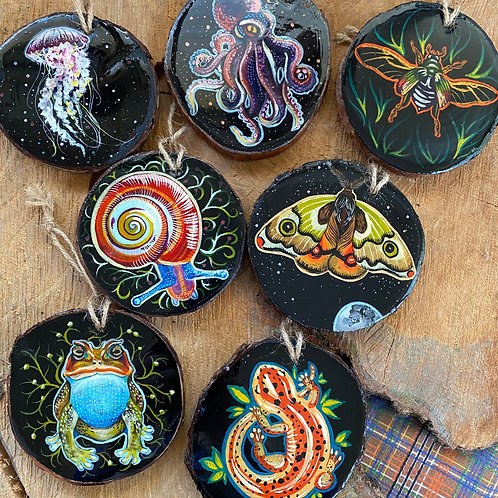 Hand Painted Wood and Resin Ornaments