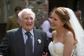 Happy Bride with Uncle at Strumpshaw Church