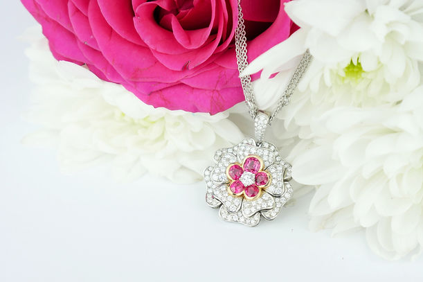 Traditional Diamond and ruby flower pendant necklace Jewellery