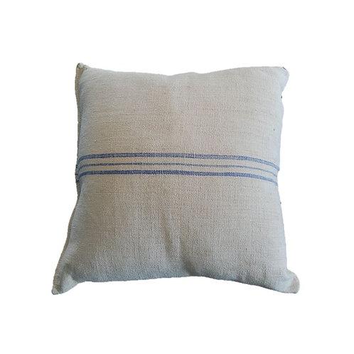 Grain Sack Collection - Blue Triple Stripe Pillow