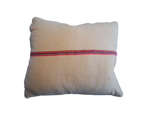 Grain Sack Collection - Blue & Red Stripe Pillow