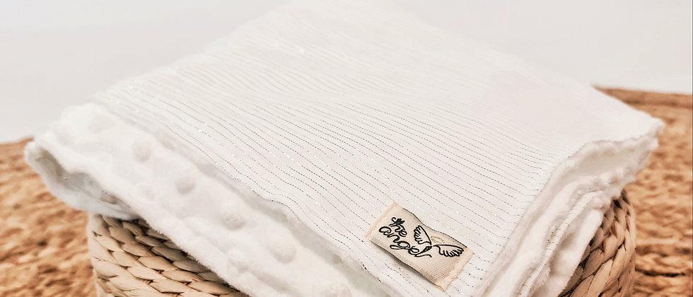 Shiny White Κουβερτούλα με βαμβακερή μουσελίνα