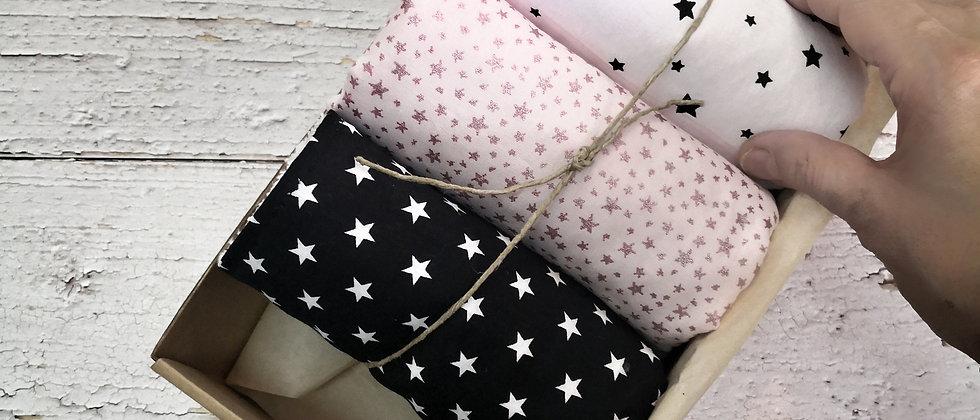 Pink Stars - small towels Set