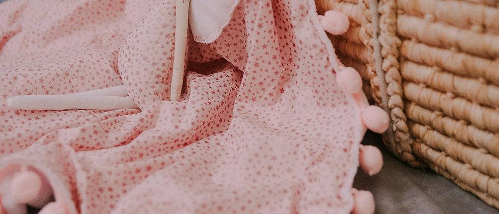 Glitter Stars Pink pompom