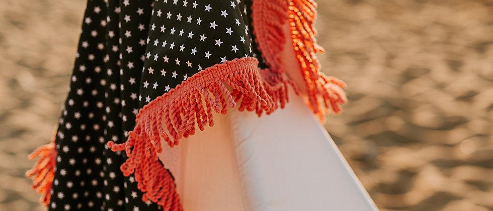 Black Stars with Pink Beach Towel
