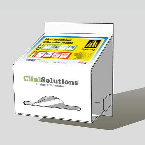 Non-Hazardous Offensive waste bag dispenser, incuding label and dynamic QR code
