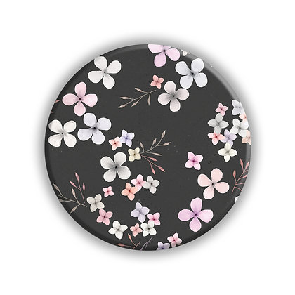 Grey Flower Pocket Mirror