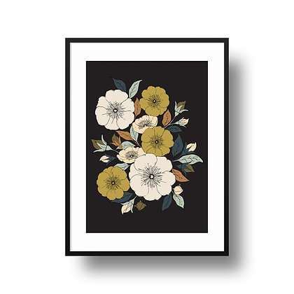 A4 Rambling Rose Print - Dark