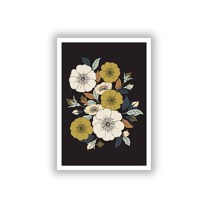 A4 Rambling Rose Print - Dark