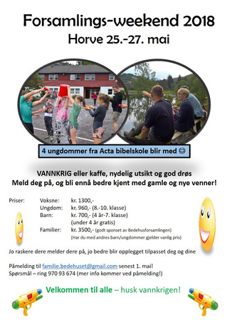 Forsamlings-weekend 2018 Horve 25.-27. mai