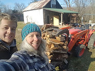 Nate Dyer and Mom, Laura Lynne Dyer cut more firewood with Bermuda our tractor.