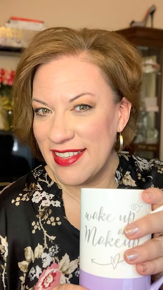 Heather is lifting a mug to you! The mug says: Wake up and #Makeup!  Let's get you organized and on top of your life!