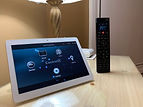 Control4 home automation touch screen and controller in master bedroom