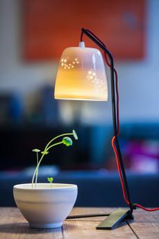 La lampe à poser porcelaine et pied métal