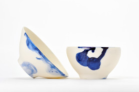 Bols porcelaine décor bleuté