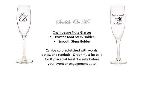 Champagne Flute Etched Glasses - Set of 8