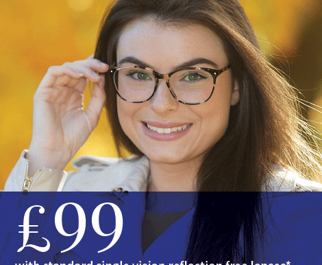 £99 With Standard Single Vision Reflection Free Lenses*