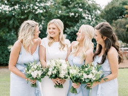 Bride and Bridesmaids Laughing Garner, NC Wedding Photo by Heather Webster Photo