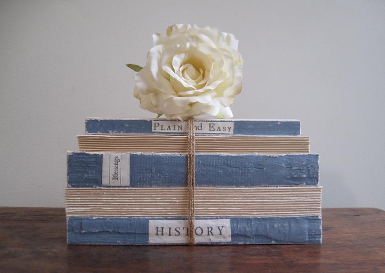 Book Mosaic Book Stack Wedding Centerpiece Blue Satin Bee