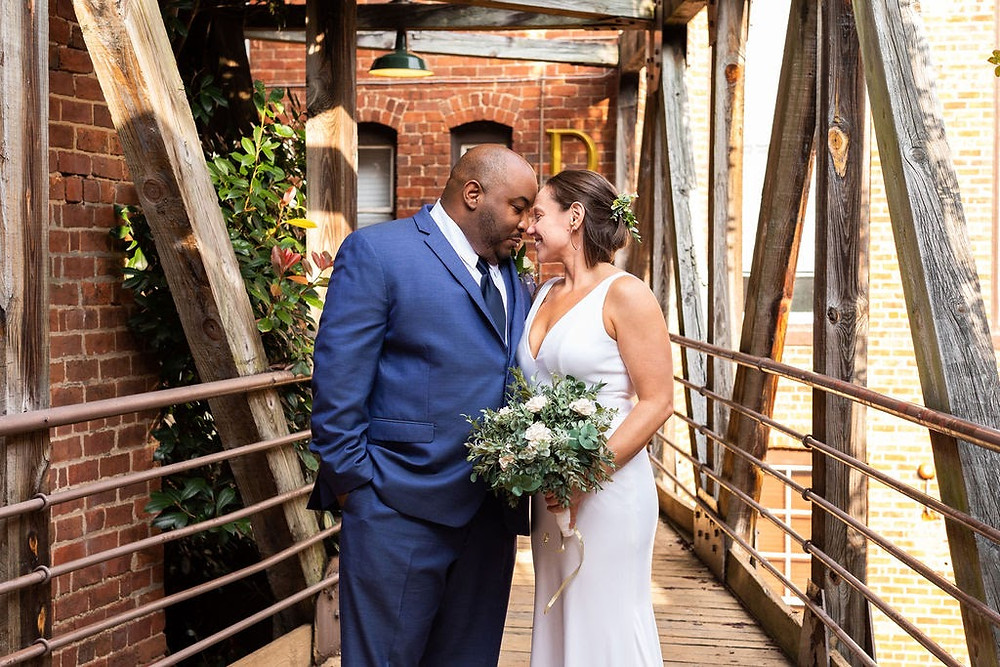 Bride and groom smiling Historic Brookstown Inn Brittany Butterworth Photography