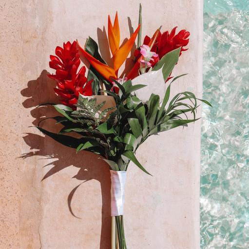 Beach Wedding Bouquet Blue Satin Bee