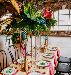 Bright and Bold Boho tablescape at 801 Ocean Wedding at Oak Island, NC Photo by Hen House Photo
