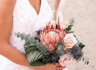 Elopement Oak Island Wedding Package Bride and Flowers