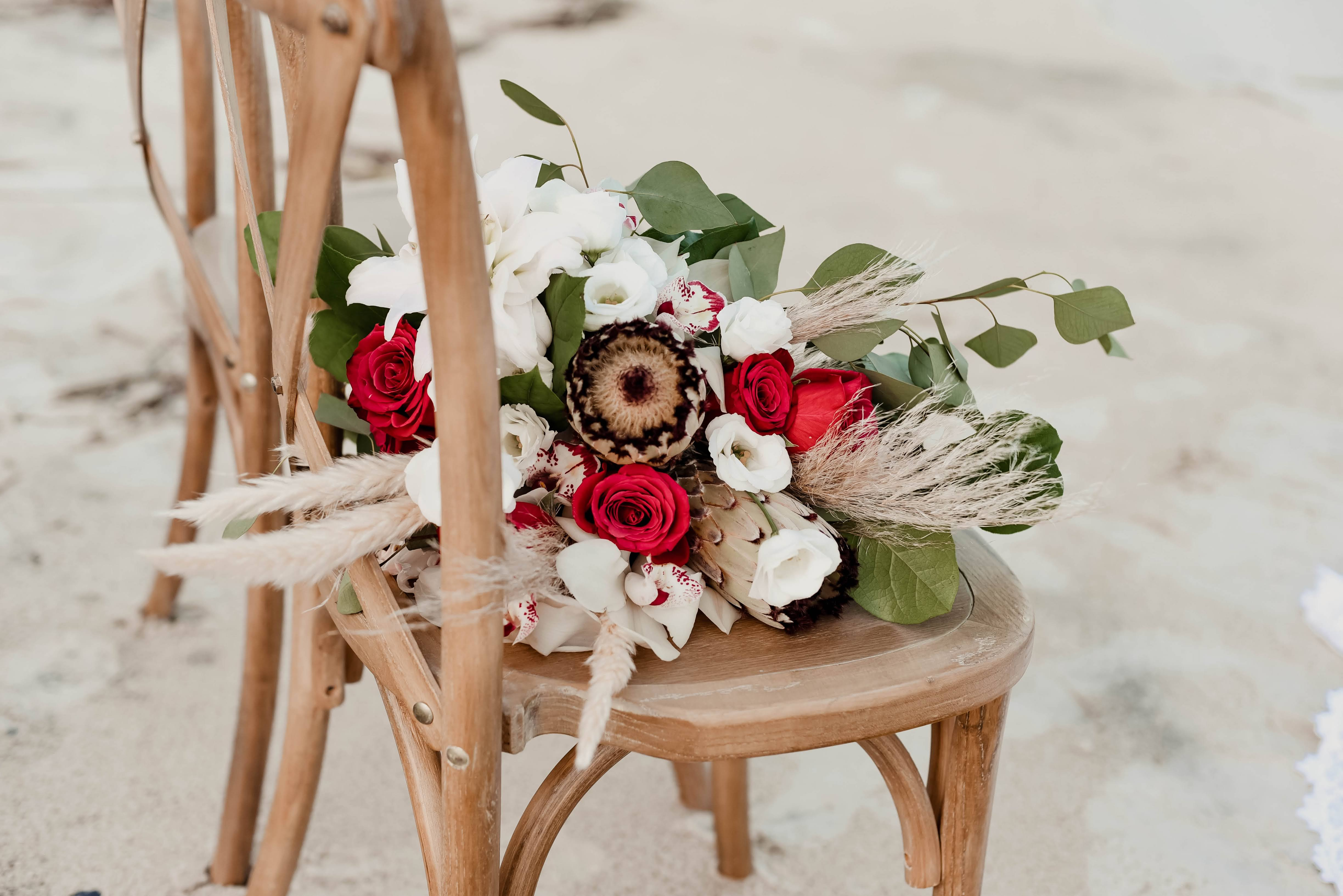 Hen House Photo Southport Wedding Flowers in Chair for Boho Wedding on Beach