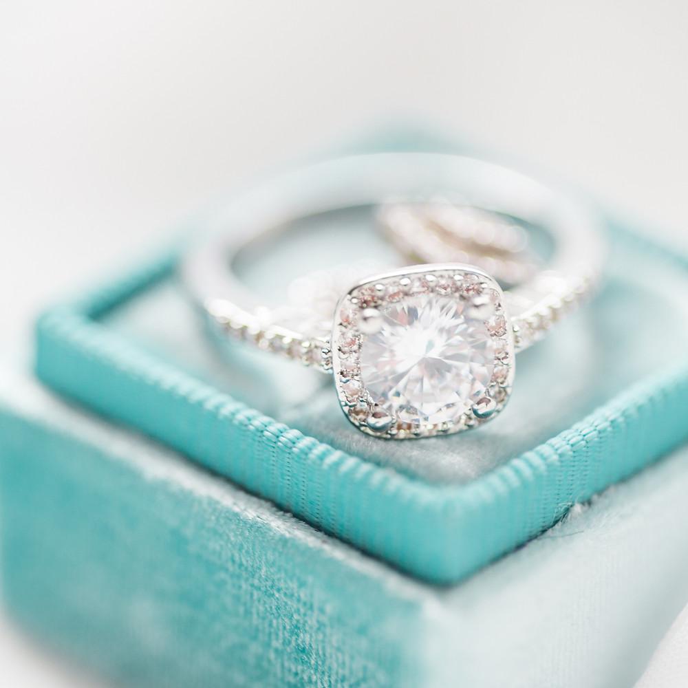 Engagement Ring on teal box wedding planning begins