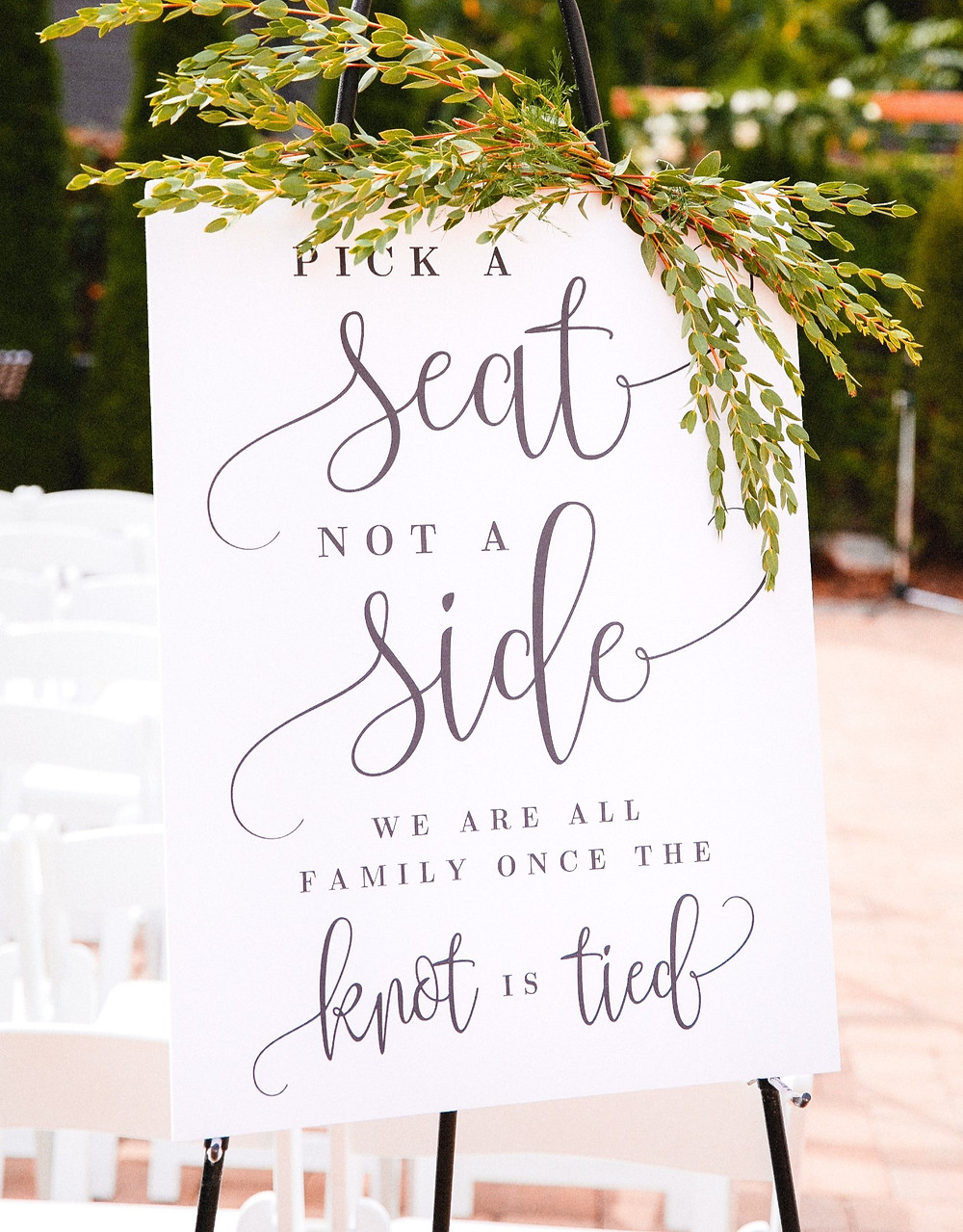 Wedding ceremony sign Pick a Seat, Not a Side Southport, NC weddings