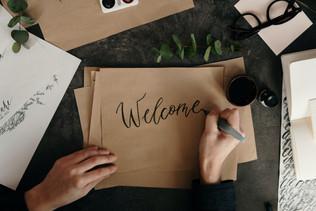 Wedding welcome sign calligraphy