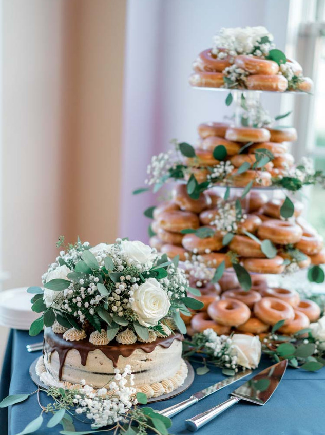 Southport Wedding Doughnut Tower Gluten Free Cake Digital Wunderland Blue Satin Bee