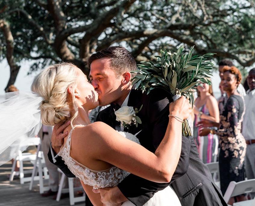 Southport Wedding Couple Digital Wunderland Blue Satin Bee