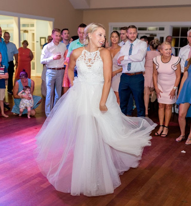 Southport Community Building Wedding Digital Wunderland Blue Satin Bee