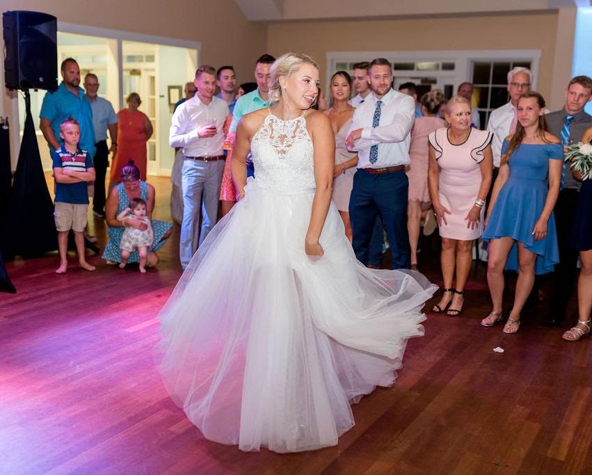 Southport NC Wedding Bride dancing at Community Building Wedding Digital Wunderland