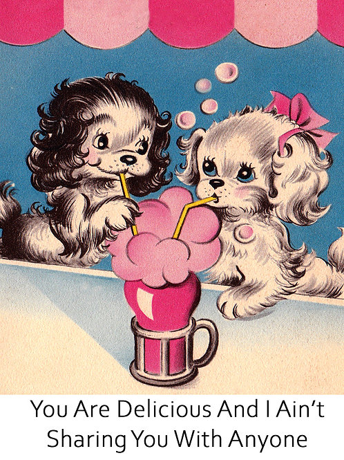 Vintage Inspired Retro Nostalgic Greeting Cards - Puppies Sharing Milkshake