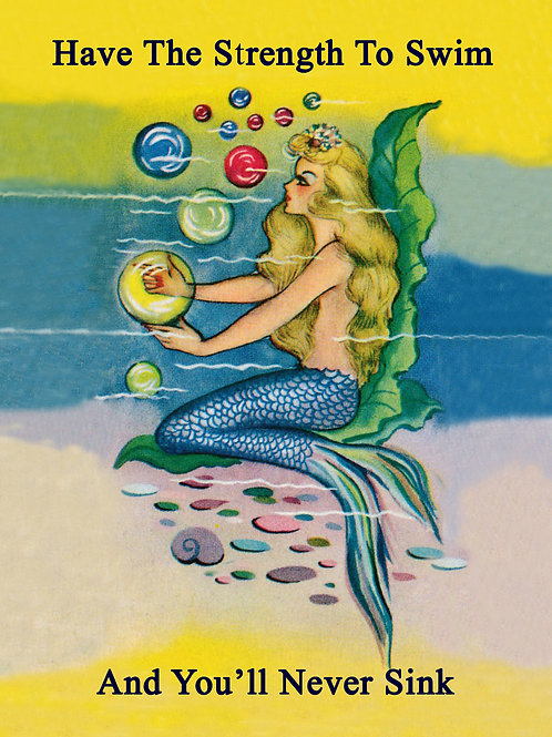 Vintage Inspired Retro Nostalgic Greeting Card- Mermaid Strength To Swim