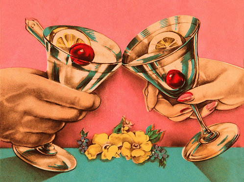 Vintage Inspired Retro Nostalgic Greeting Card - Cocktails With Cherries