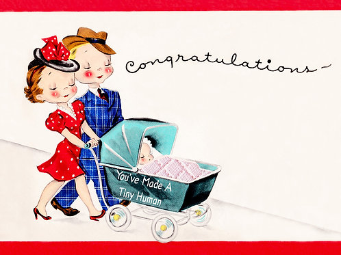 Vintage Inspired Retro Nostalgic Greeting Cards- Congrats Tiny Human