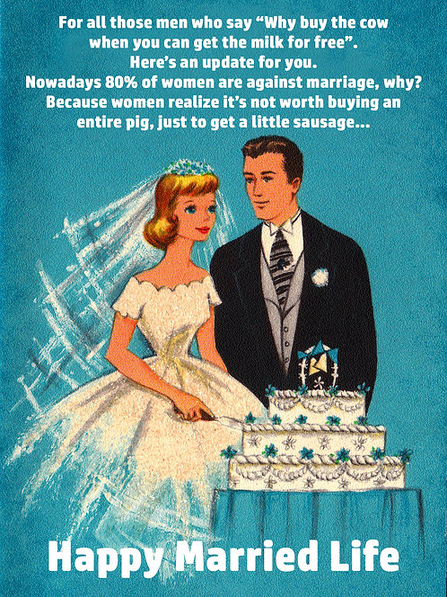 Vintage Inspired Retro Nostalgic Greeting Cards - Happy Married Life