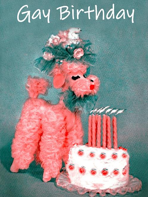 Vintage Inspired Retro Nostalgic Greeting Card - Pink Poodle Gay Birthday