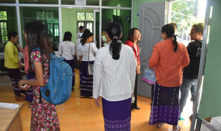 Trainees visiting the Pathein Seed Lab