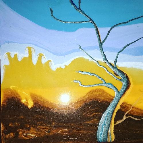 """Tree of Blue Gold"" Resin on Birch"