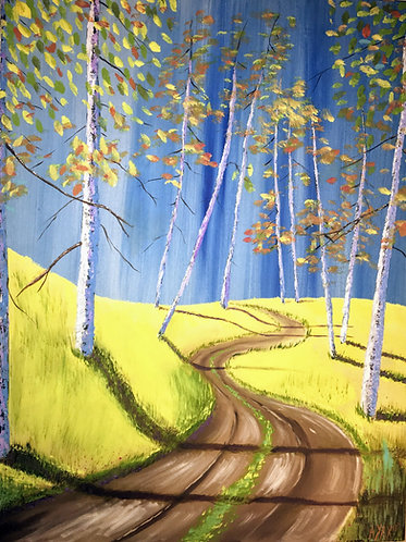 """Whats down the road"" Original oil on canvas"