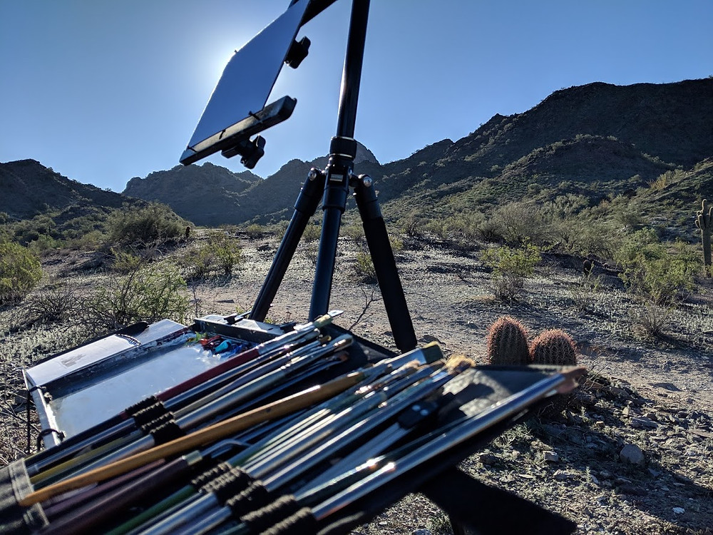Plein Air oil painting setup rig